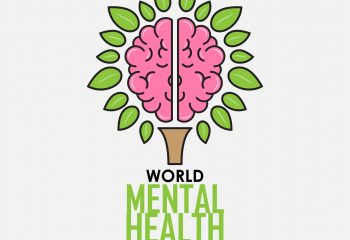 World Mental Health Day background. Brain concept. Vector illustration.