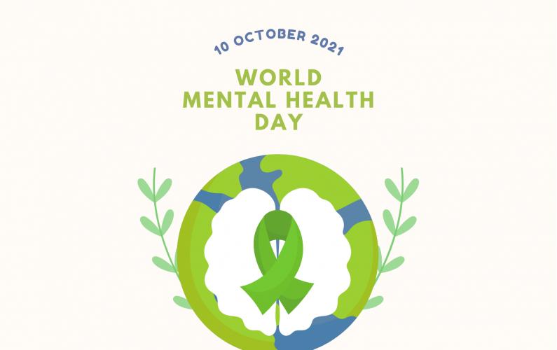Bridal Heath Minimalist World Mental Health Day Instagram Post With Green Tie Illustration (Card (Landscape))